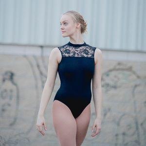 Women & Girls Ballet Dance Leotard Lace Mock Neck